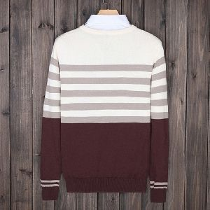 MENS AUTUMN STRIPED SLIM CASUAL SWEATERS
