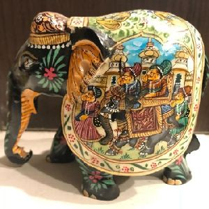 Antique Painted Camel Bone And Wooden Elephant