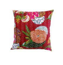 Indian Ethnic Pure Cotton Handmade Kantha Work Designer Sofa Cushion Cover Case