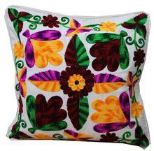 Indian Jaipuri Pure Cotton Designer Suzani Work Sofa Cushion Cover