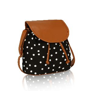 KLEIO White polka dots canvas Sling bag