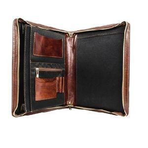 Zippered Pu Leather Brown Business Portfolio Or Padfolio