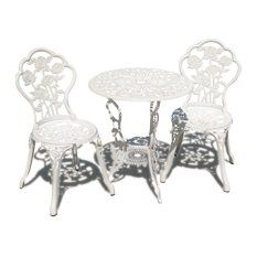 Patio Bistro Set Table Chair Set Outdoor Garden Furniture Antique White