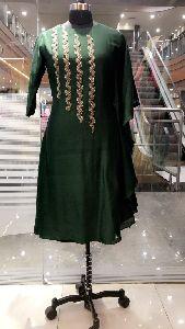 Green Chirr Embroidered Kaftan