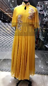 Yellow Bell Embroidered Gown