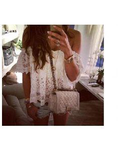 Women Off Shoulder Casual Tops Blouse Lace Crochet Chiffon Shirt
