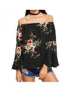 Women Off Shoulder Top Casual Floral Print Slash Neck Long Sleeve Blouse
