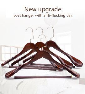Flocking Bar Wooden Coat Hanger