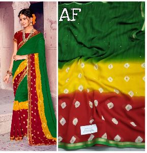 Bandhani Designe Havy Georgette Fabric With Jorjet Leheriya Typs Blouse