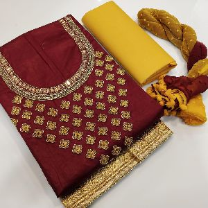 Designer Hand Work And Ambroidery Concept Cotton Dress Material Suit