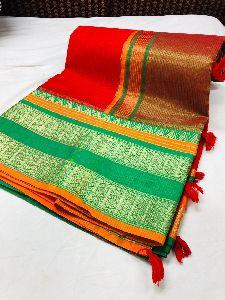 Designer Super Net Soft Kota Cotton Saree With Contrast Blouse