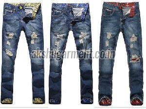 Mens Damaged Jeans
