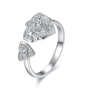 Sterling Silver Open Zircon Engagement Ring