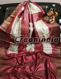 Handloom Pure Zari Tussar Silk Sarees