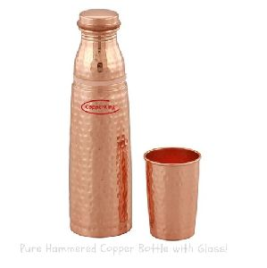 Hammered Copper Bottle With Glass