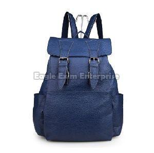 Blue Leather Backpack Bag
