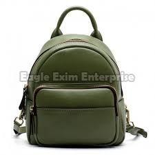 Green Leather Backpack Bag