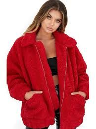 Women Red Long Sleeve Coat