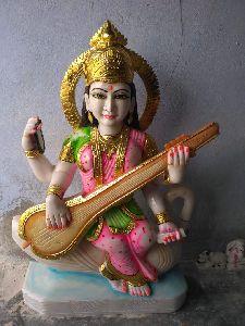 3 Feet White Marble Saraswati Maa Statue