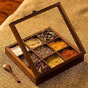 Wooden Square Spice Box