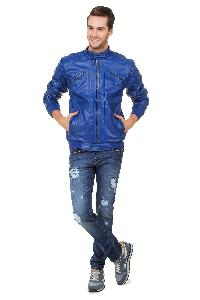 Glossy Zipper Royal Leather Jacket