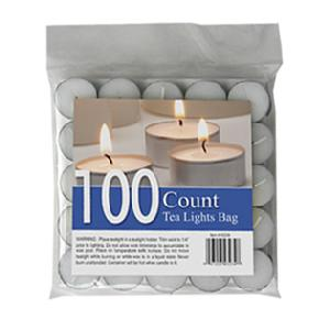 100 Pack White Unscented Tealight Candle