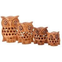 wooden owl set
