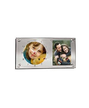 Glass Photo Frame With Clock