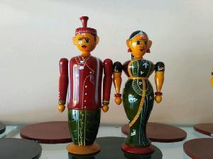 Wooden Bride & Groom Set