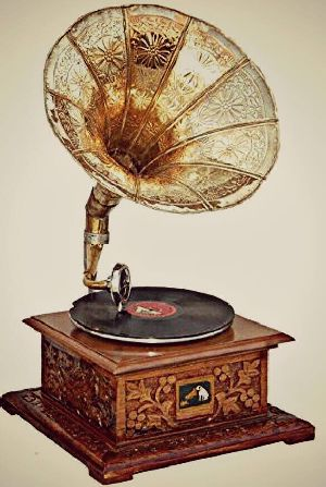 Antique Square Wooden Base Gramophone