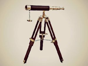 Brass Nautical Decorative Tripod Telescope