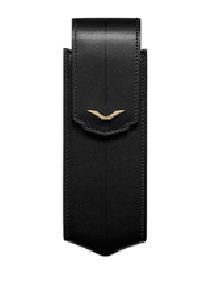 Black Leather Vertical Case With Yellow Gold