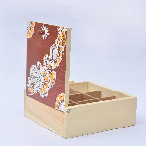 Ivei Hand Painted Wooden Chowk Art Trinket Box