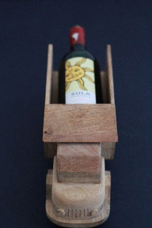 Ivei Wooden Bottle Shaped Shot Glass Holder