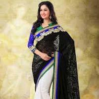Dazzling Black & Off White Designer Saree