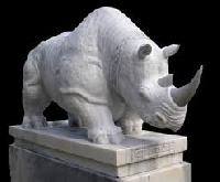 Stone Rhino Sculpture