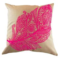 Embroidered Pink Feather Cushion Cover