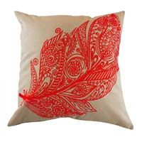 Embroidered Red Feather Cushion Cover