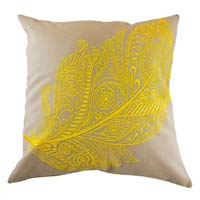 Embroidered Yellow Feather Cushion Cover