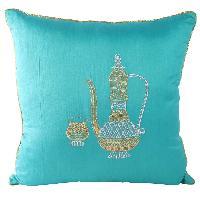 Zari Embroidered Arabian Jar Mug Cushion Cover