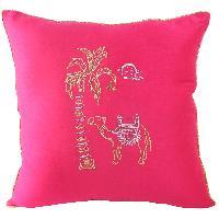 Zari Embroidered Artistic Desert Scene Cushion Cover