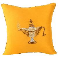 Zari Embroidered Elegant Lamp Design Cushion Cover