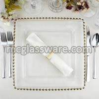 12 inches Gold beads square glass charger plate