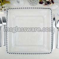 12 inches silver beads square shaped glass charger plate