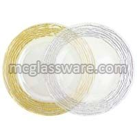 Arizona Gold Silver Edge Clear Glass Charger Plates
