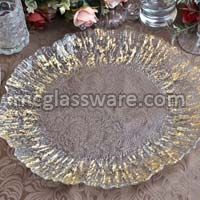Daniz Gold Flower Clear Glass Charger Plates