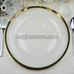 gold rim glass charger plates