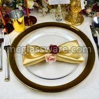 Gold Rimmed Clear Glass Charger Plates