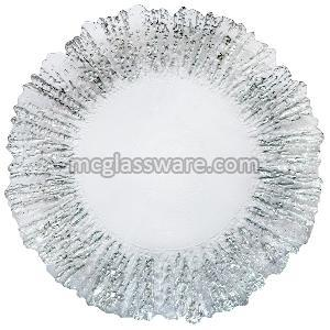 silver flower shaped glass charger plate