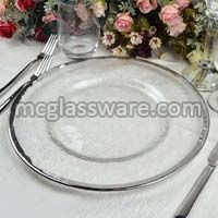 Silver Rimmed Clear Glass Charger Plates
